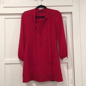 Zara long sleeve red dress